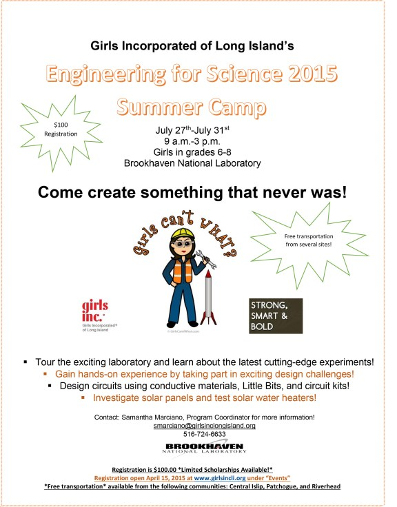 Engineering for Science 2015 Summer Camp