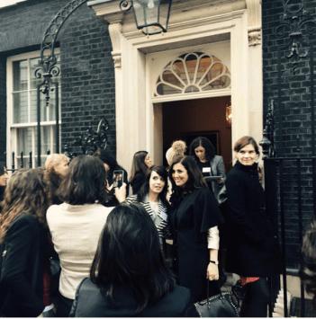 Ladies entering 10 Downing Street