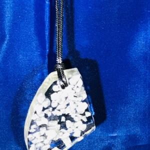 angular resin pendant - silver