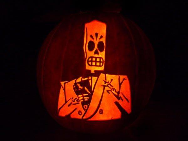 Grim Fandango Jack-o-lantern from dorkly.tumblr.com