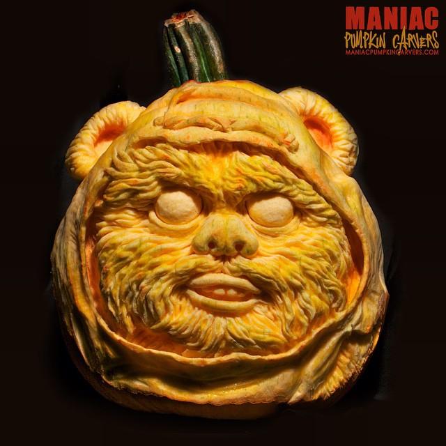 Ewok pumpkin by maniacpumpkincarvers.com/