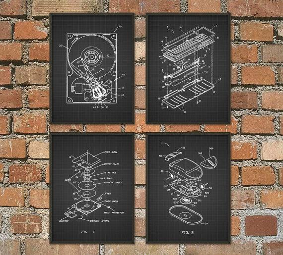 Computer Geek Wall Art Poster Set of 4