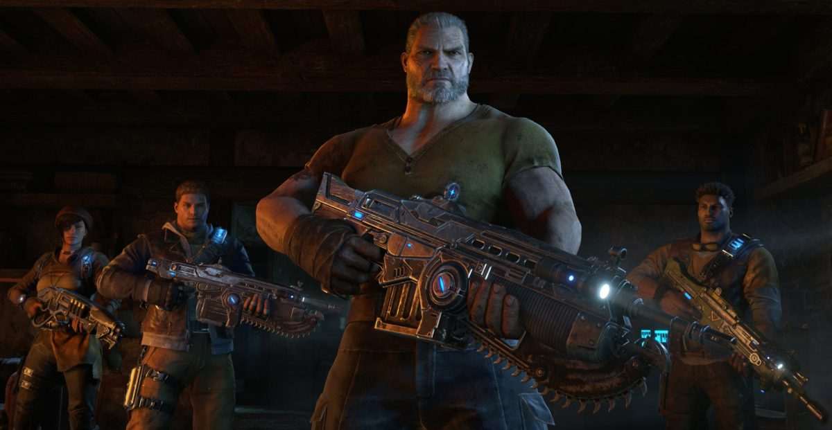 Marcus Fenix in the center, and the new characters on the sides. Notice the difference in bulk?