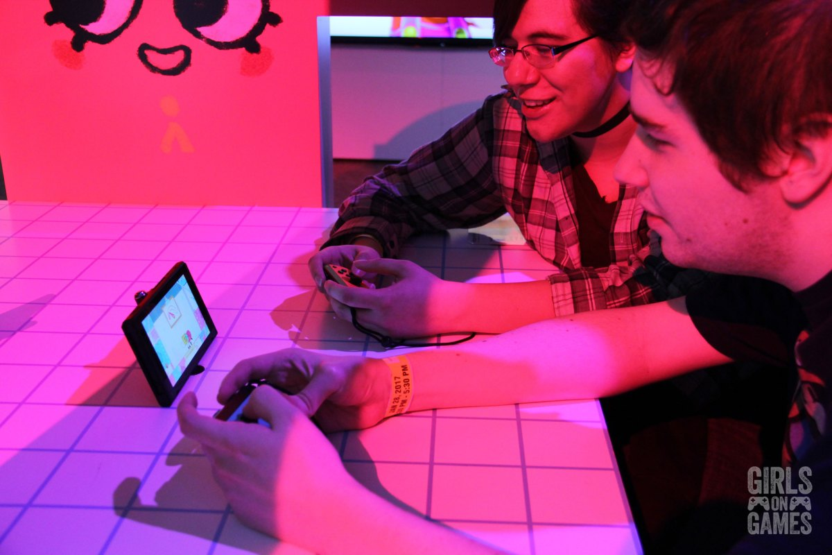 Attendees play Snipper Clips at the Nintendo Switch event in Toronto. Photo: Leah Jewer / Girls on Games