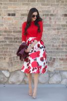 floral skirt, pale pink shoes