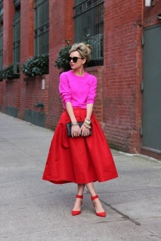 pink top, red ball skirt