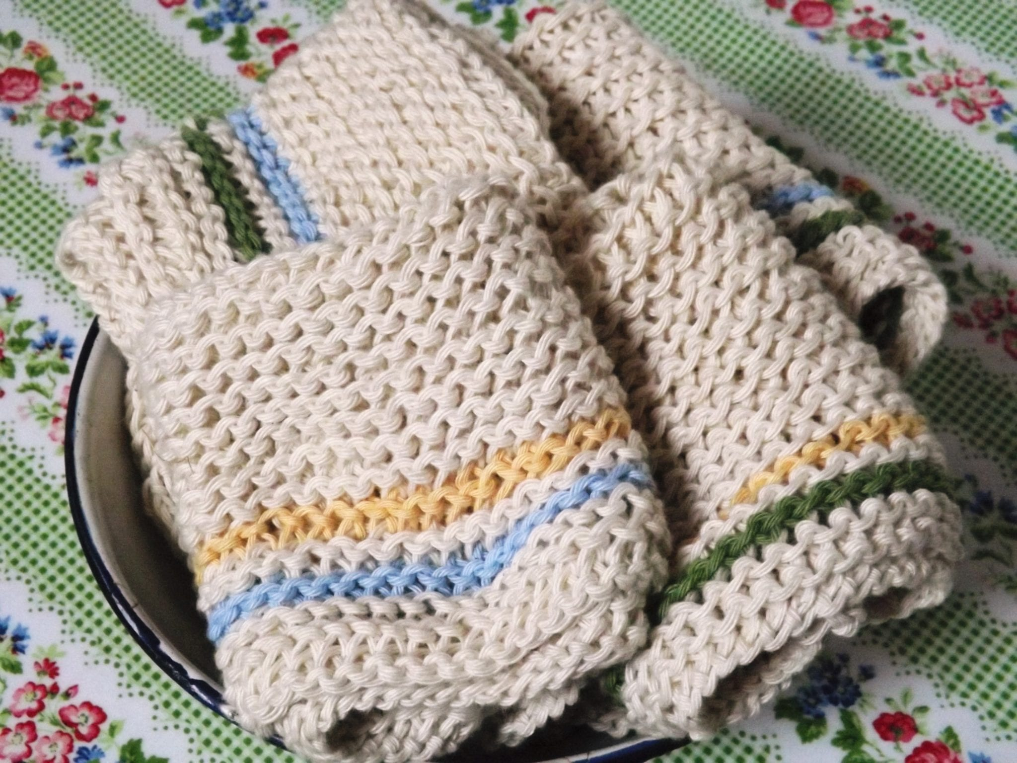 Hand Knit Cotton Dishcloth  Girls Own Store