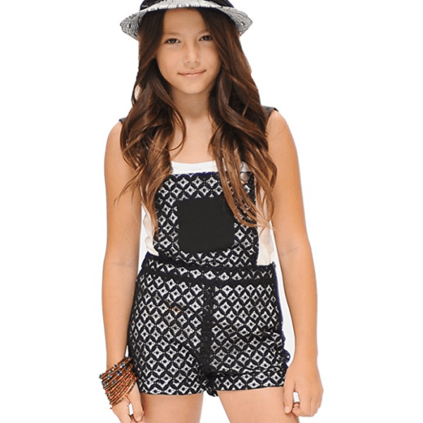 Trendy tween clothing, rompers and overalls