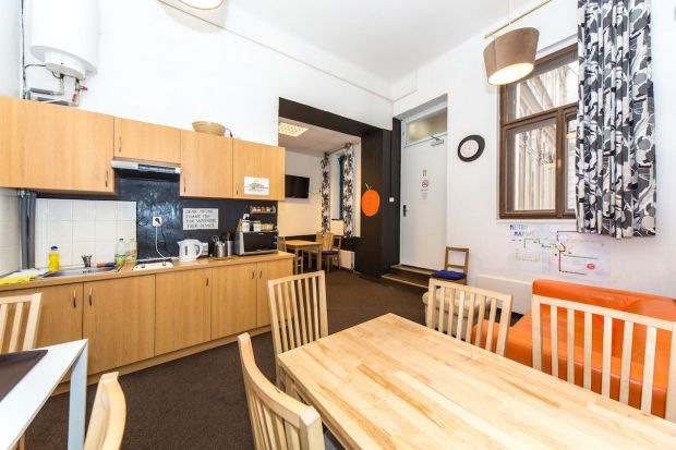 Hostel Orange Prage - Review - Common Room and Kitchen.jpg