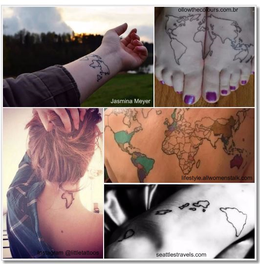 100 Amazing- and inspirational travel tattoos! Worldmap Collage 2#worldmap #map #globe #travel #tattoo #traveltattoo #girlswanderlust #wanderlust
