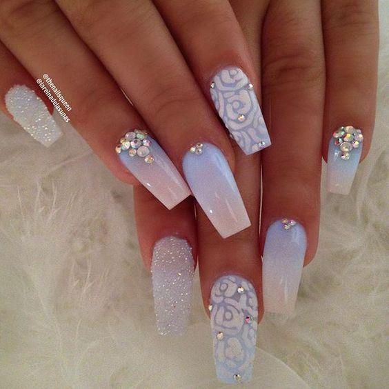 30 Beautiful Diamond Nail Art Designs