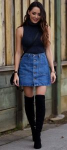 Turtleneck Paired With A-line Denim Skirt And Black Boots
