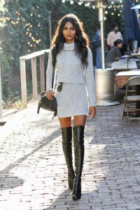 Cable Knit Twin Set And Thigh High Boots