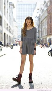 Gray Dress And Combat Boots