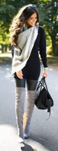 Over-sized Shirt With Gray Scarf And Gray Boots
