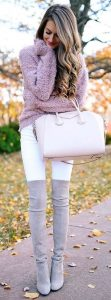 Purple Wool Knit And Thigh High Boots