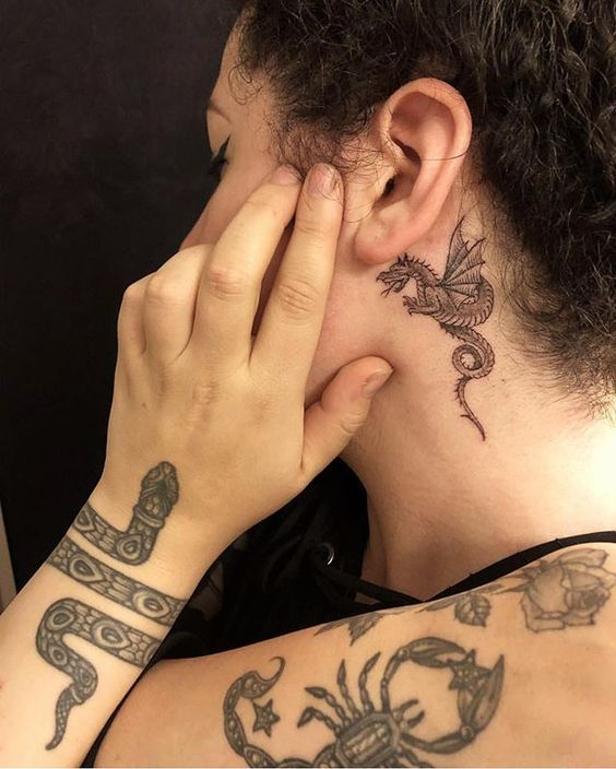Dragon Tattoo Behind Ear : dragon, tattoo, behind, Dragon-behind-the-ear-tattoo, Girlterestmag