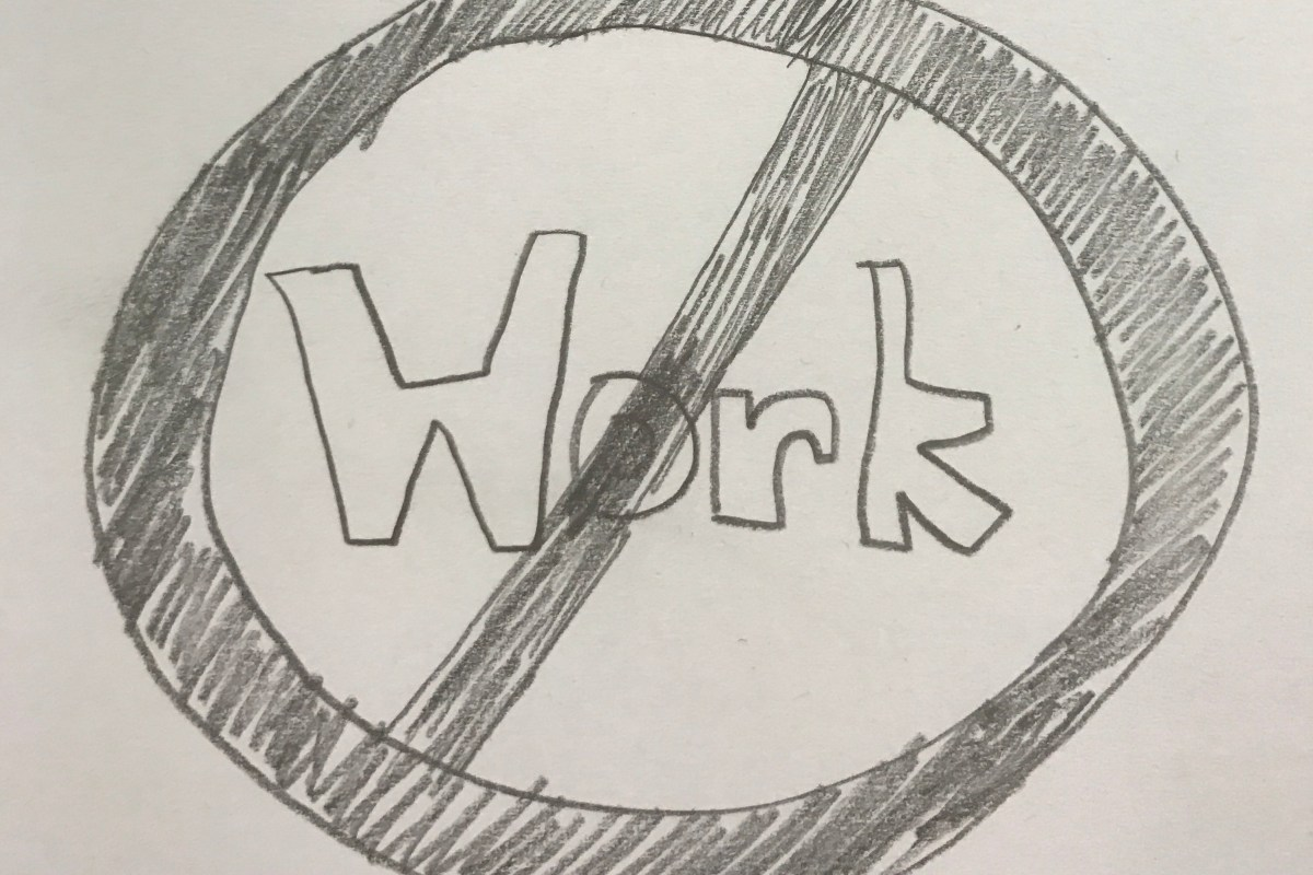 Drawing with the word work inside a red circle depicting the Top 5 Worst Jobs For Those With Anosmia
