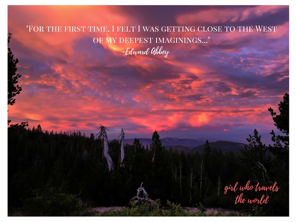 Sunset in Mammoth, Great Travel Quotes, Edward Abbey