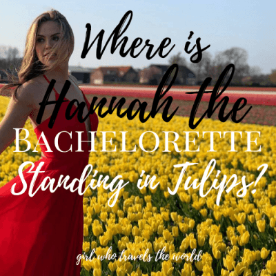 Where is Hannah The Bachelorette Standing in Tulips?