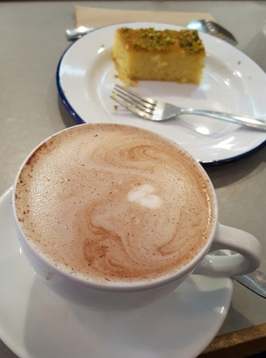 Hot chocolate and cake at Society Cafes in Bath, UK