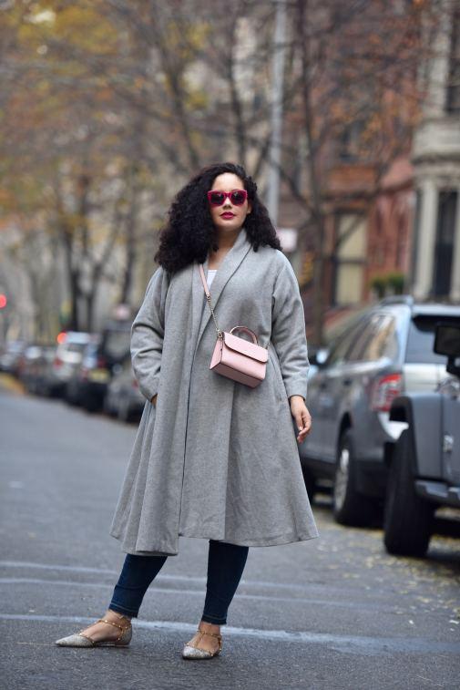 Grey Swing Coat, Pink Crossbody, Flats