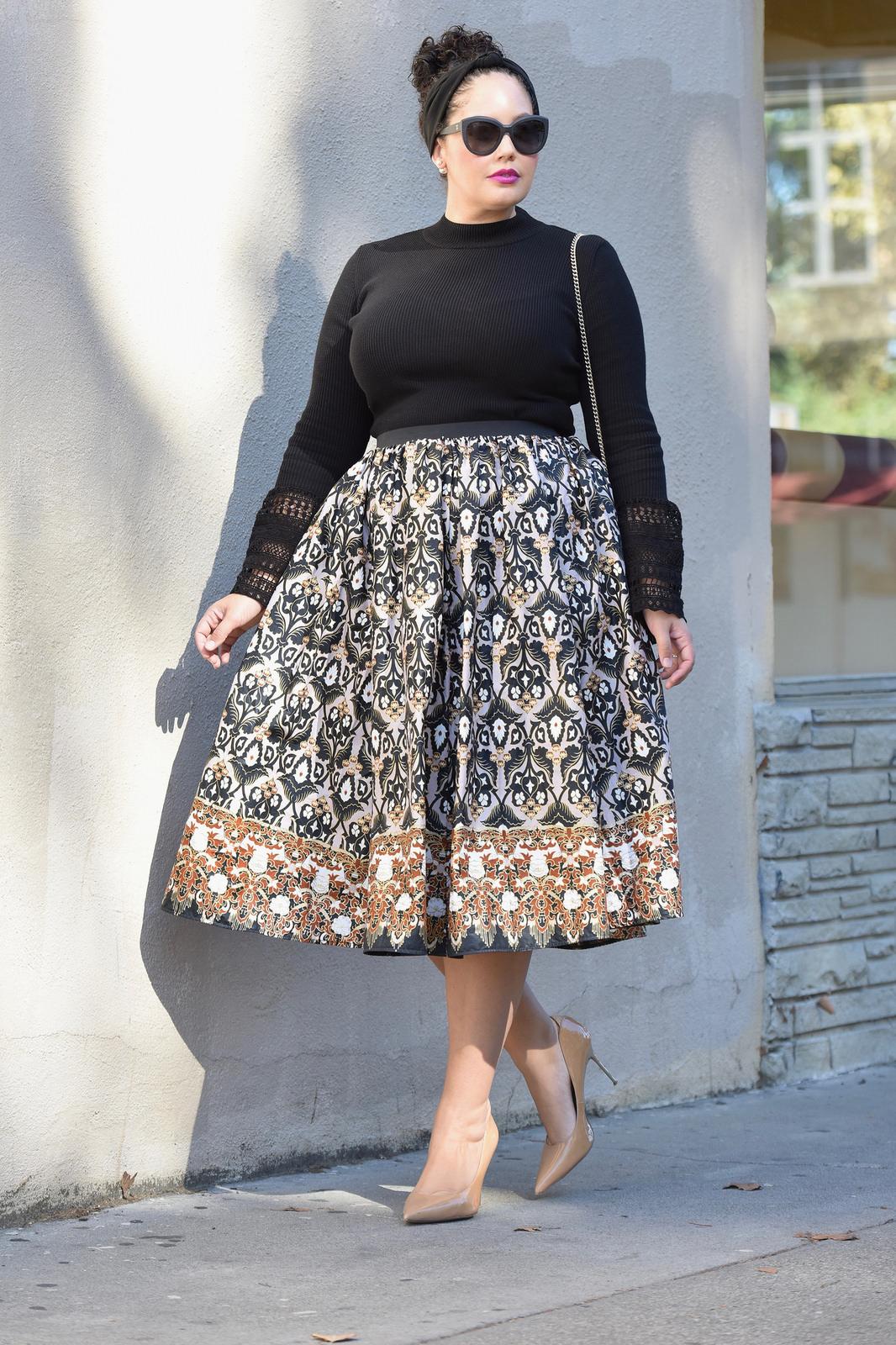 Printed Midi Skirt  Bell Sleeve Sweater