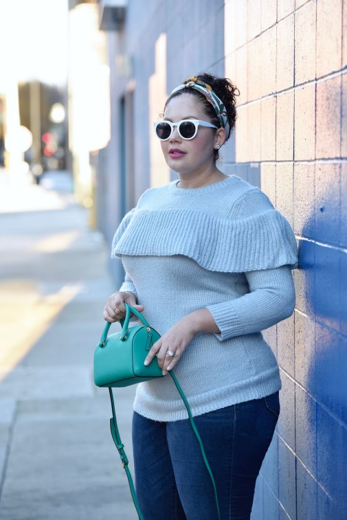 Girl With Curves featuring a ruffle sweater from Asos, silk scarf from Ann Taylor and white sunglasses.