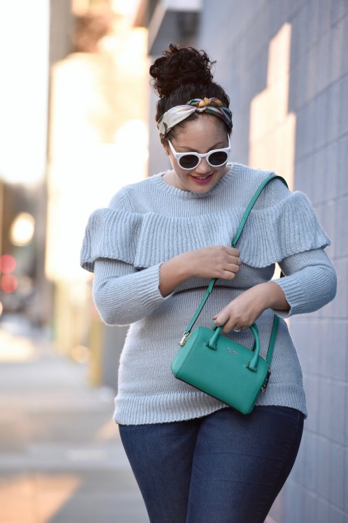 Girl With Curves featuring a ruffle sweater from Asos, bag from Kate Spade, jeans from Old Navy and white sunglasses.