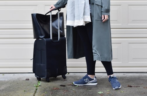 Girl With Curves featuring Trench coat from Asos, Shoes from New Balance, leggings from Lysse, and handbag from Givenchy
