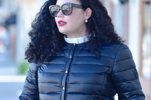 Featuring a puffer jacket from Ralph Lauren, Top from Eloquii, and Lipstick from Mac