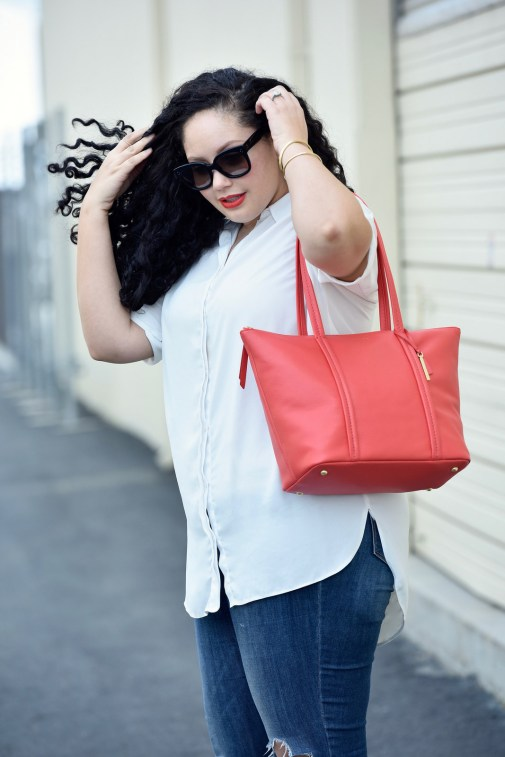How to make simple outfits stand out with a statement tote in a bold color.