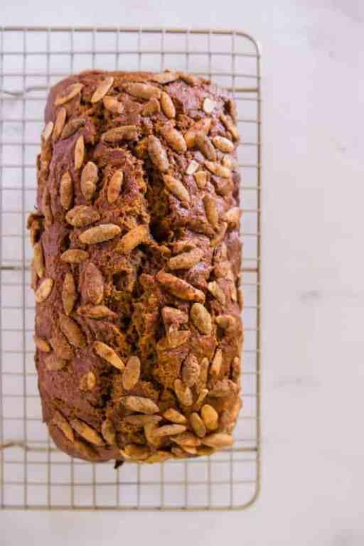 Pumpkin Bread Overhead with pumpkin spiced seeds