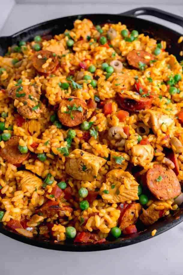 Chorizo and chicken paella close up