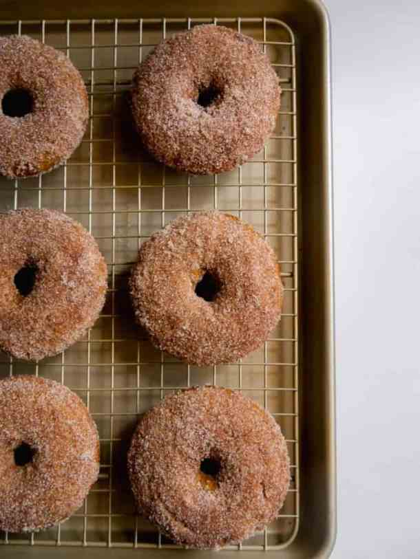 Pumpkin Spice Baked Donuts on rack