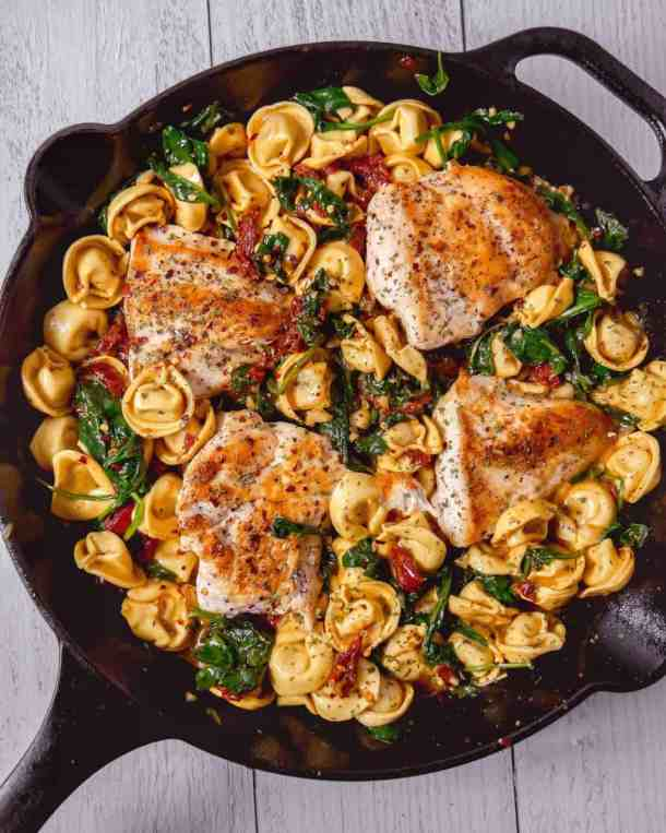 Tuscan chicken with tortellini in a one skillet pan, quick dinner