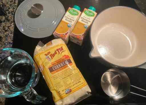 polenta ingredients and a saucepan
