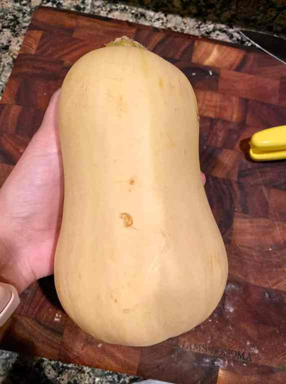 photo of a butternut squash in hand