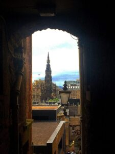 Don't let the blue sky above the Royal Mile fool you. Edinburgh is a very damp and rainy place.