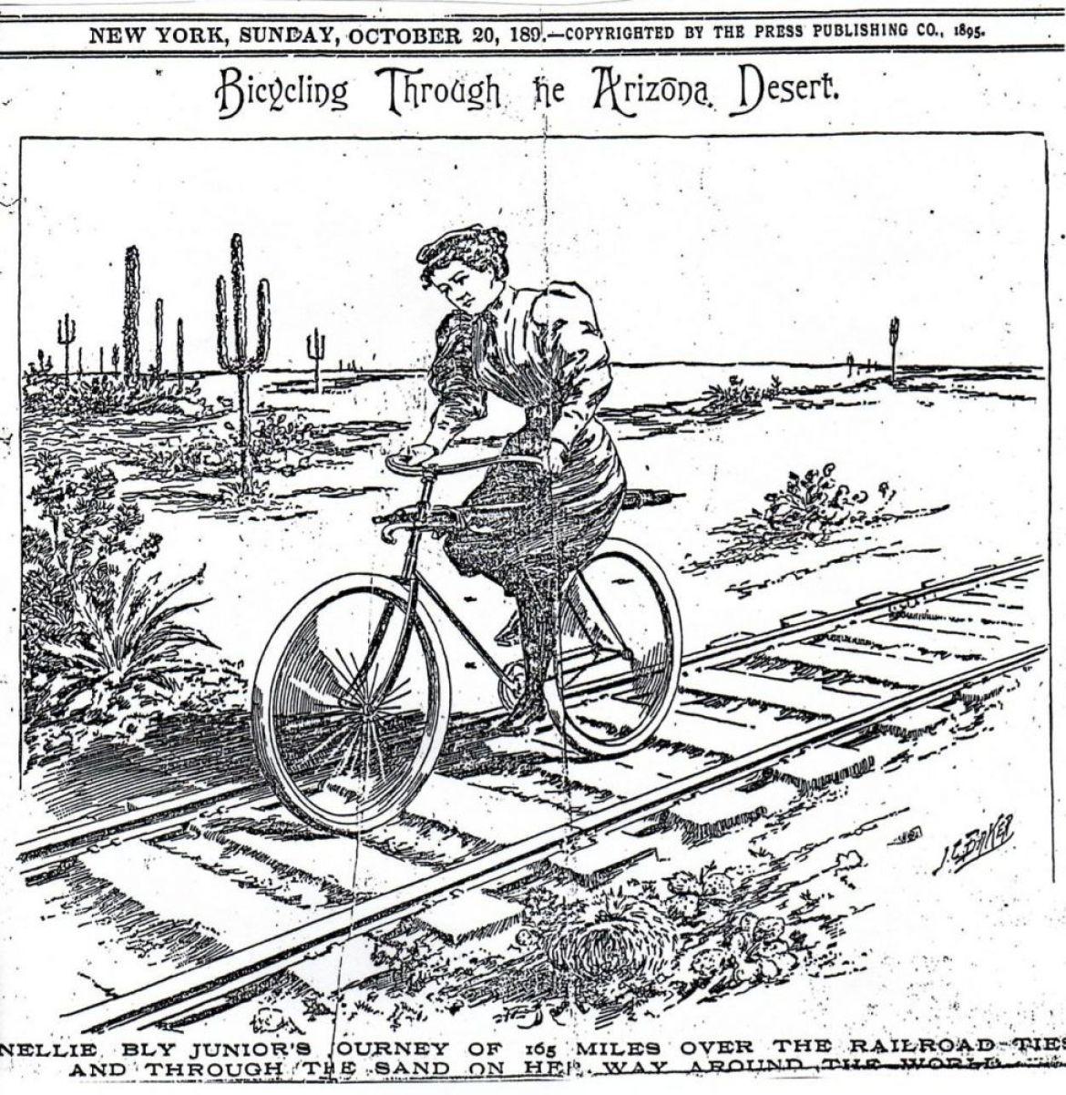 Annie Londonderry pedala lungo i binari