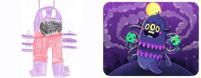 Artists Recreate Children's Drawings of Monsters - Girly Design Blog