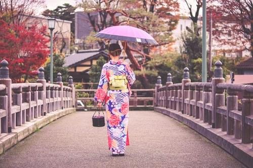 雨の中、和傘をさしながら歩く着物姿の女の子