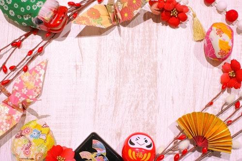 「あけおめ画像」「お重」「ダルマ」「フレーム」「和」「年賀状」「扇子」「折り鶴」「獅子舞」などがテーマのフリー写真画像