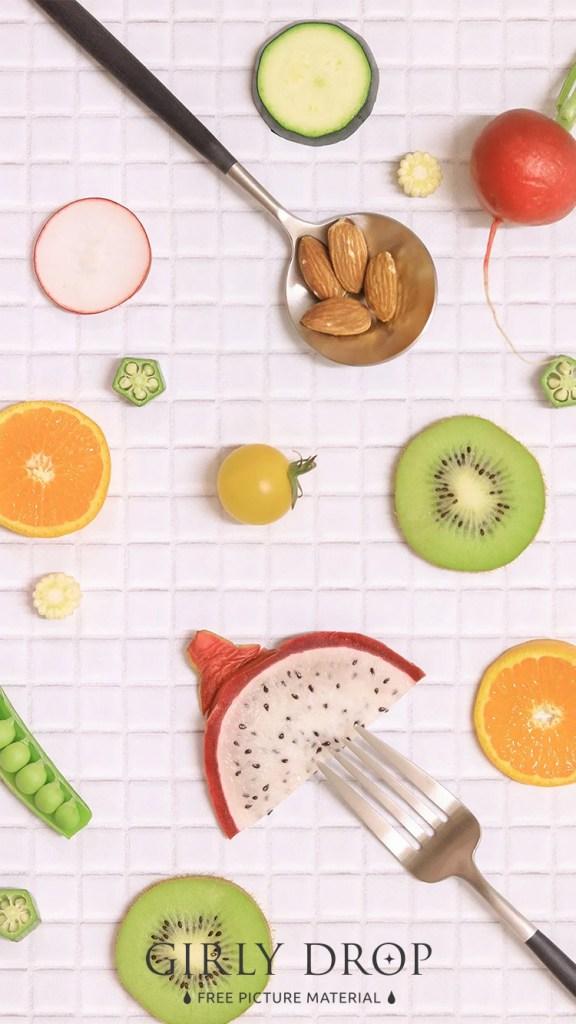 おしゃれなフリーのスマホ壁紙(待受け):【おしゃれなiPhone壁紙】フルーツや野菜をオシャレに並べた様子