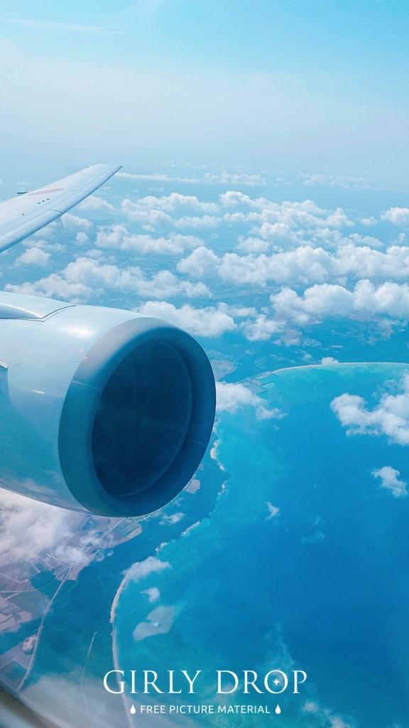 おしゃれなフリーのスマホ壁紙(待受け):【おしゃれなiPhone壁紙】飛行機から見た宮古島のうつくしすぎる上空