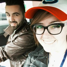 Two happy geeks on their way to Anime North.