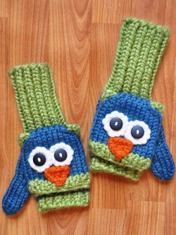 blue green owl mittens