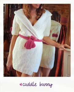 cuddle bunny knitted robe with heart knitting pattern