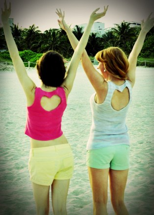 """""""Heart to Heart"""" Embellished Tank Top with Heart Cut Out Back"""