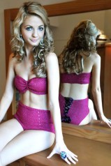 """Glamour Girl"" Bandeau and High-Waisted Lace-Up Back Panty Lingerie Set"